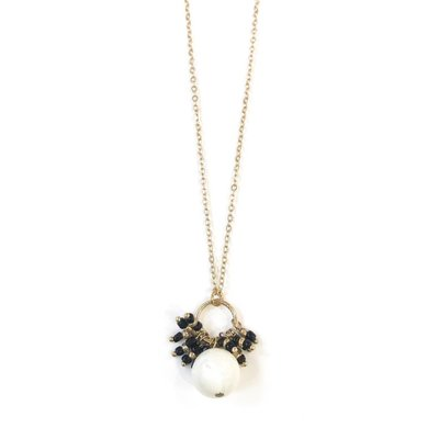 Mother of Pearl w Black Fringe Necklace