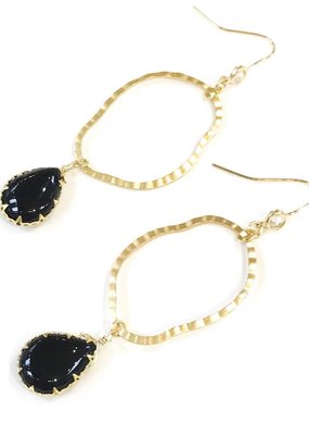 Hammered Gold Hoop w Onyx Stone Drop Earring