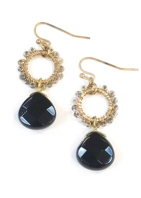 Gold Fringe Hoop w Black Onyx Stone Drop Earring