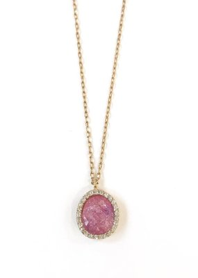 Italian Sterling Silver Gold Plated With Hot Pink Quartz Pendant