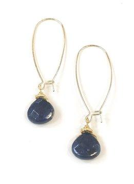 Wire Drop w Midnight Blue Stone Earring