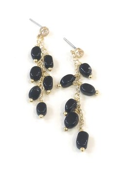 Onyx Bead Strand Stud Earring
