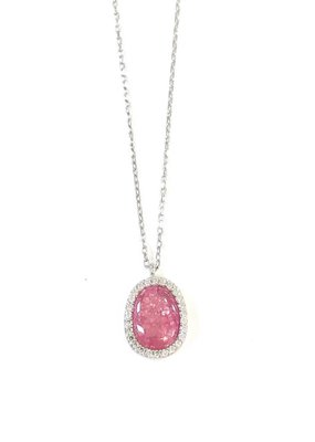Qualita In Argento Italian Sterling Silver Hot Pink Quartz Pendant