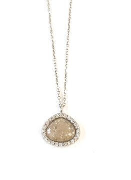 Qualita in Argento Italian Sterling Silver Small Quartz Stone Pendant Necklace