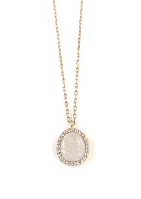 Italian Sterling Silver Gold Plated with White Quartz Pendant