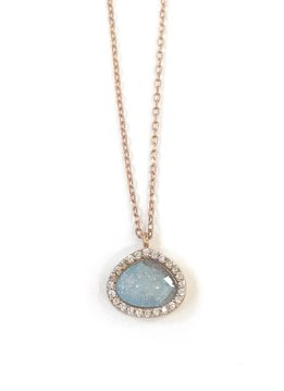 Qualita in Argento Italian Sterling Silver Rose Gold Plated Blue Quartz Necklace