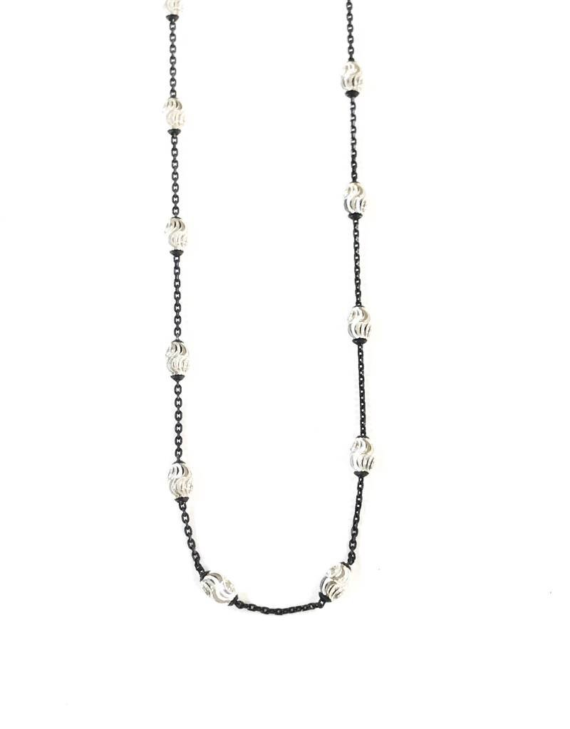 "Qualita In Argento Italian Sterling Silver Black Silver Bead 18"" Necklace"