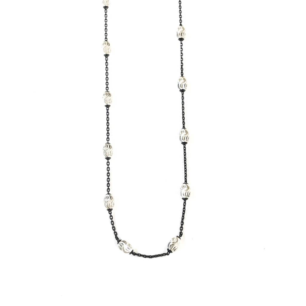 "Qualita in Argento Italian Sterling Silver Black Silver Bead 24"" Necklace"