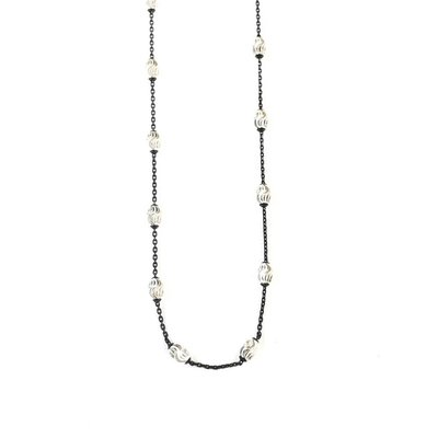"""Qualita In Argento Italian Sterling Silver Black Silver Beaded 20"""" Necklace"""