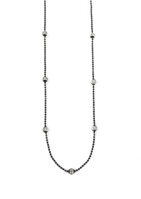 "Qualita in Argento Italian Sterling Silver Black Silver Bead 18"" Necklace"