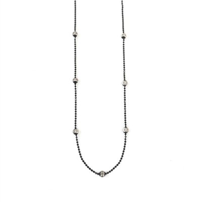 """Sterling Silver Black Silver Bead 18"""" Necklace"""