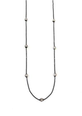 "Italian Sterling Silver Black Moon Cut 20"" Necklace"