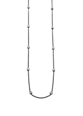 """Qualita In Argento Italian Sterling Silver Moon Cut Bead 20"""" Black Necklace"""