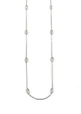 "Italian Sterling Silver Moon Cut Bead 24"" Necklace"