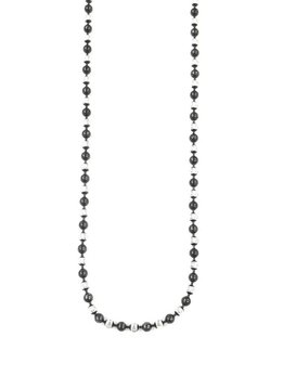"""Italian Sterling Silver + Black  Round Moon Cut Bead 16"""" Necklace"""