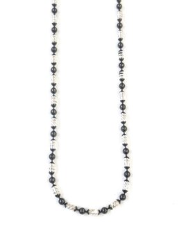 "Italian Sterling Silver + Black Oval Moon Cut Bead 16"" Necklace"