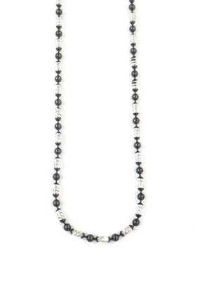 """Qualita In Argento Italian Sterling Silver + Black Oval Moon Cut Bead 16"""" Necklace"""