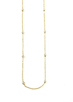 """Italian Sterling Gold Moon Cut Bead 20"""" Necklace"""