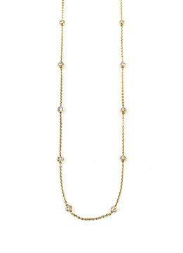 """Italian Sterling Gold Plated Moon Cut Bead 20""""  Necklace"""