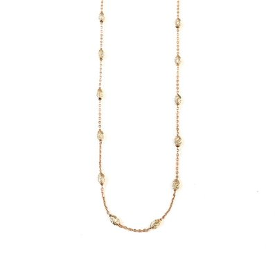 """Qualita In Argento Italian Sterling Rose Gold Plated Moon Cut Bead 24"""" Necklace"""
