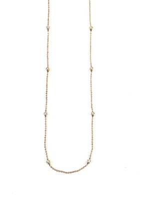 """Italian Sterling Rose Gold Moon Cut Bead 20"""" Necklace"""