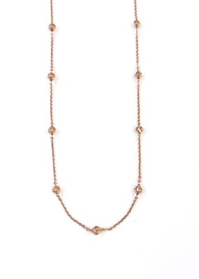 """Qualita in Argento Italian Sterling Rose Gold Moon Cut Bead 16"""" Necklace"""