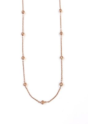 """Sterling Rose Gold Moon Cut Bead 18"""" Necklace"""
