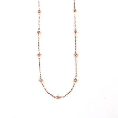 """Qualita In Argento Italian Sterling Rose Gold Moon Cut Bead 18"""" Necklace"""
