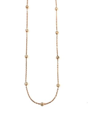 Qualita In Argento Italian Sterling Silver Rose Gold Moon Cut 16in Necklace