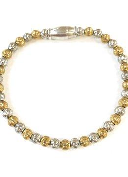 Italian Sterling Silver + Gold Moon Cut Beaded Magnetic Bracelet