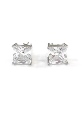 Sterling Silver Square 7mm CZ Stud