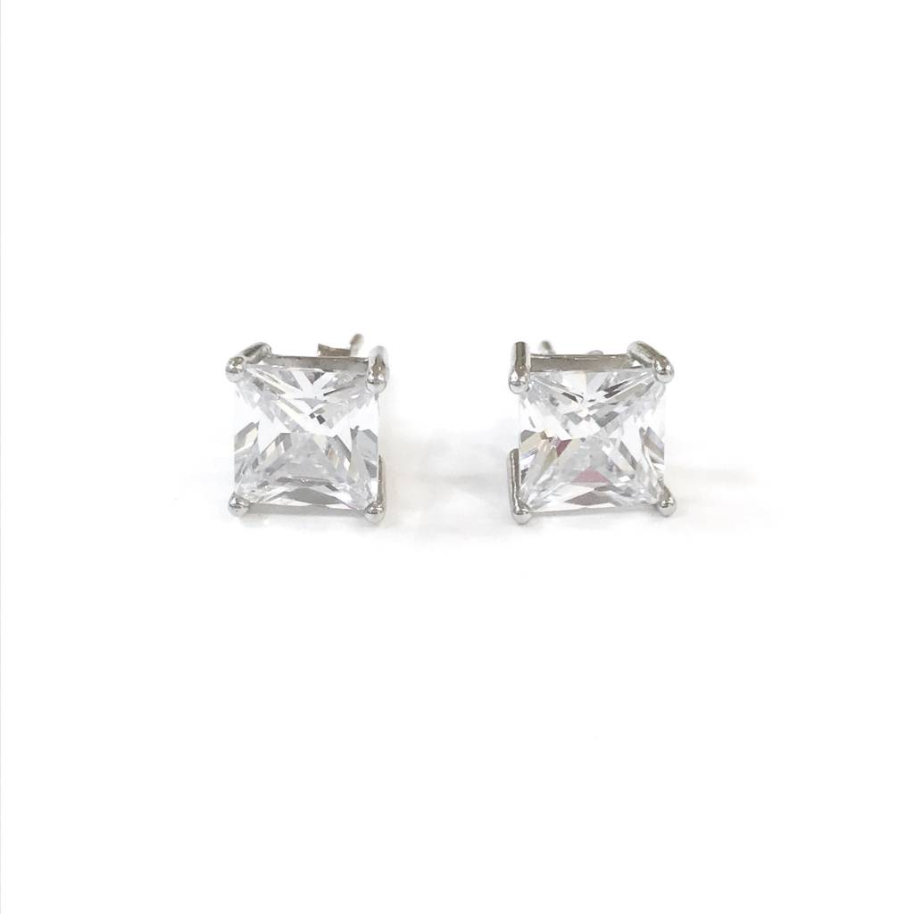 Sterling Silver 7mm Square CZ Stud