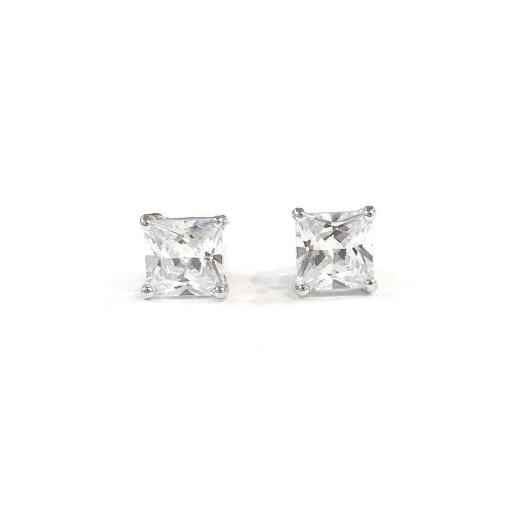 Sterling Silver 6mm Square CZ Stud