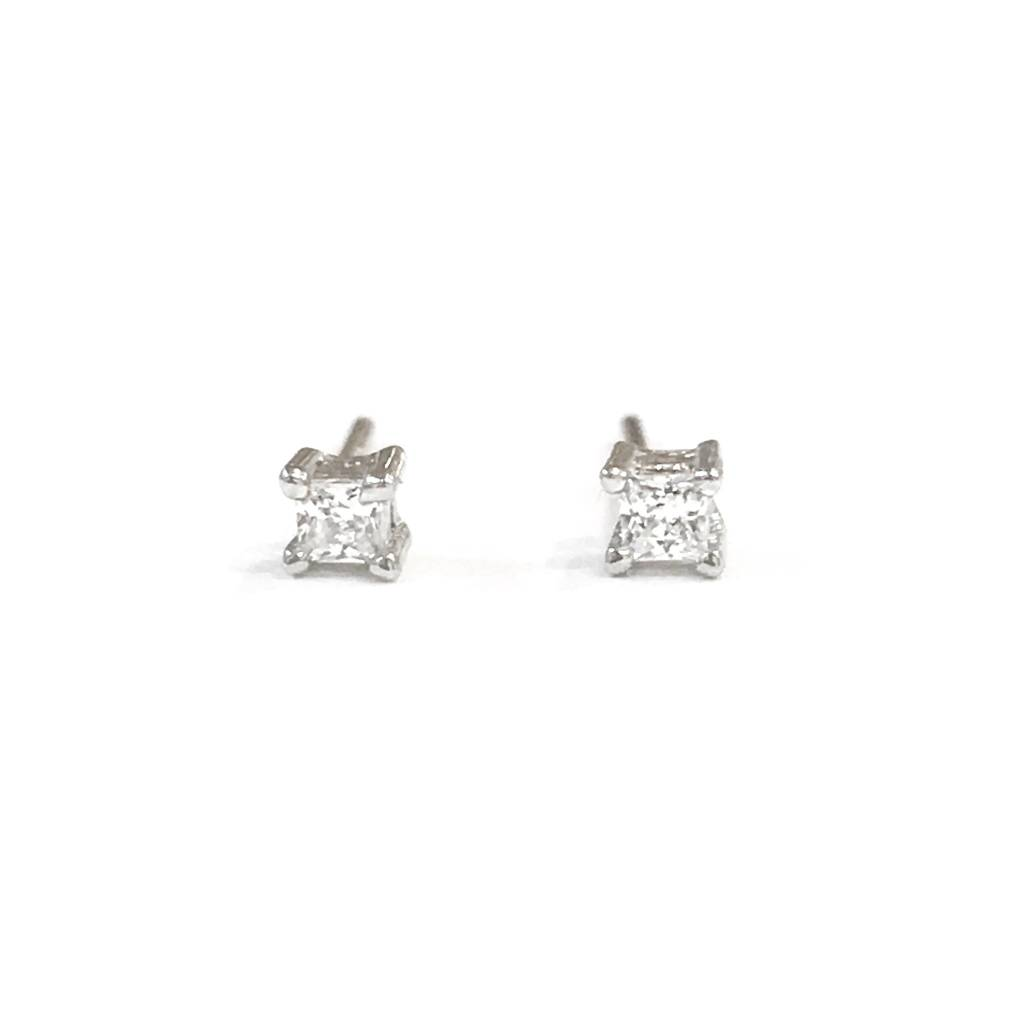 Sterling Silver 2mm Square CZ Stud