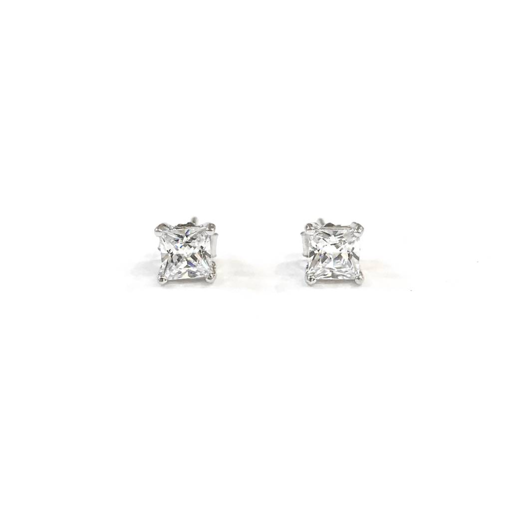 Sterling Silver 4mm Square CZ Stud