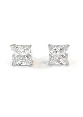 Sterling Silver Square 9mm CZ Stud