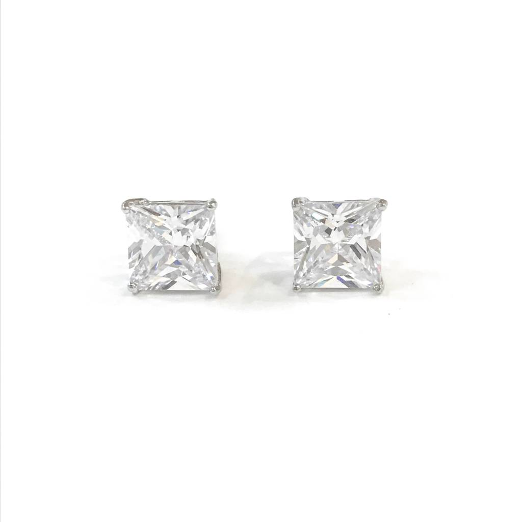 Sterling Silver 9mm Square CZ Stud