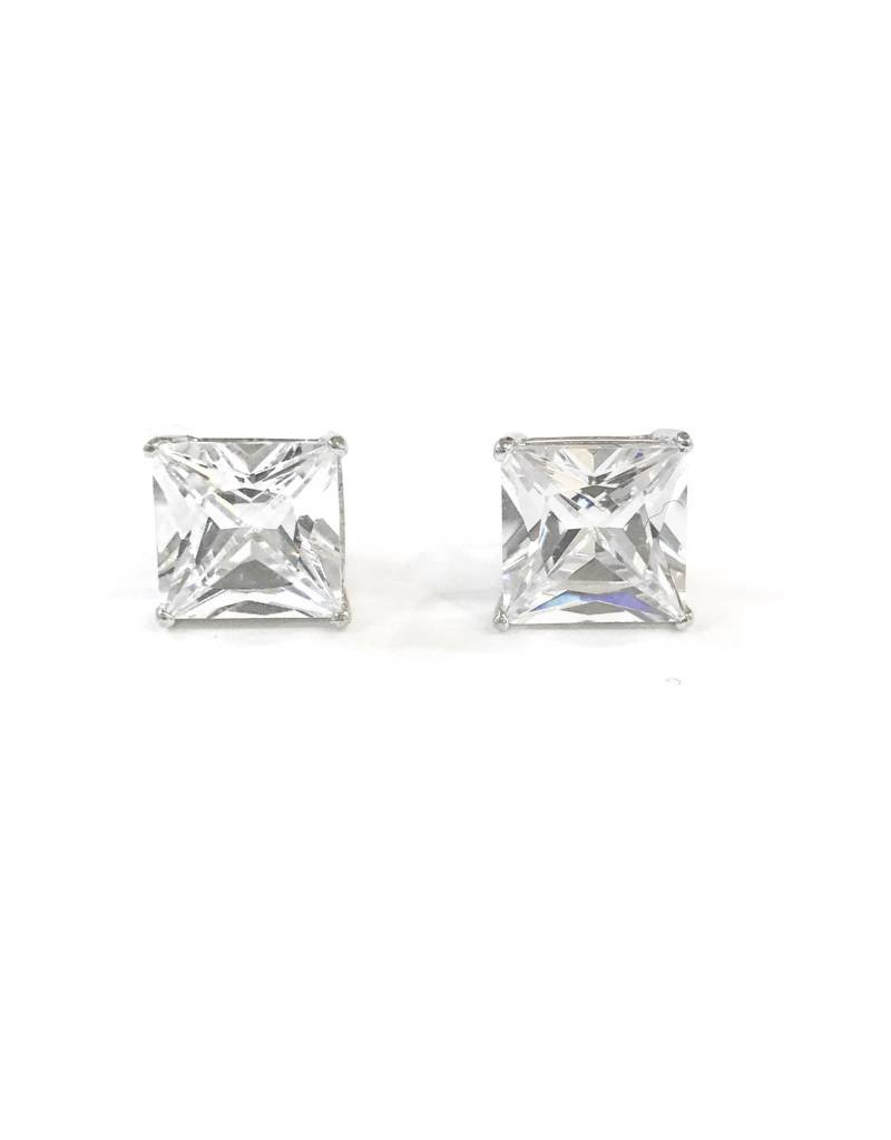 Sterling Silver Square 8mm CZ Stud