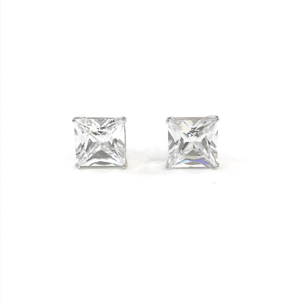 Sterling Silver 8mm Square CZ Stud
