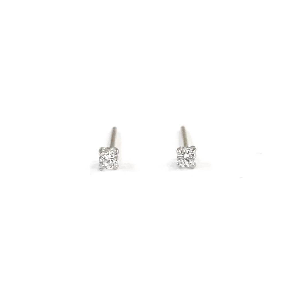 Sterling Silver Round 2mm Cz Stud Earrings
