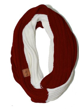 Cheveux Corp. Red + White Game Day Infinity CC Scarf
