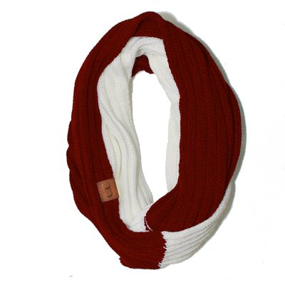 C.C. Red + White Game Day Infinity CC Scarf
