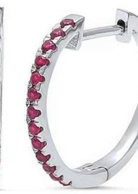 Sterling Silver Ruby Hoop Earring