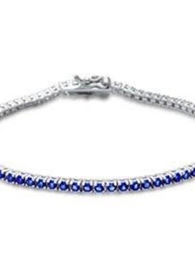 Sterling Silver Round Sapphire CZ Tennis Bangle Bracelet