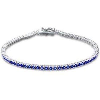 Sterling Silver Round Sapphire CZ Tennis Bangle Bracelet