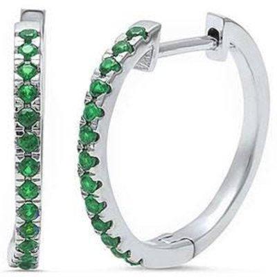 Sterling Silver Emerald Hoop Earring