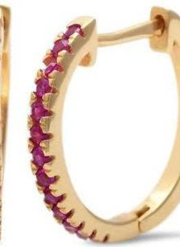 Sterling Silver Yellow Gold Plated Ruby Hoop Earring