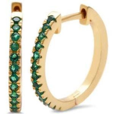 Sterling Silver Yellow Gold Plated Green Emerald Hoop Earring