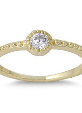 Sterling Silver Gold Plated Fine Stackable w Clear CZ Ring 6