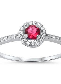 Sterling Silver Halo Ruby & Clear CZ Ring 9